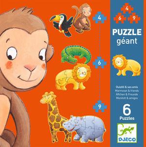 PUZZLE GEGANT 6 PUZZLES ANIMALS - OUISTITI